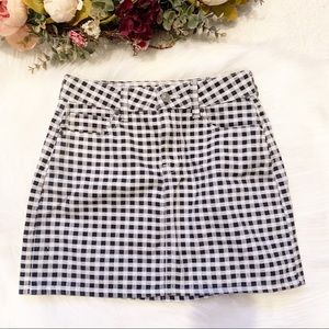 PacSun Plaid White&Black Denim Mini Skirt SZ XS
